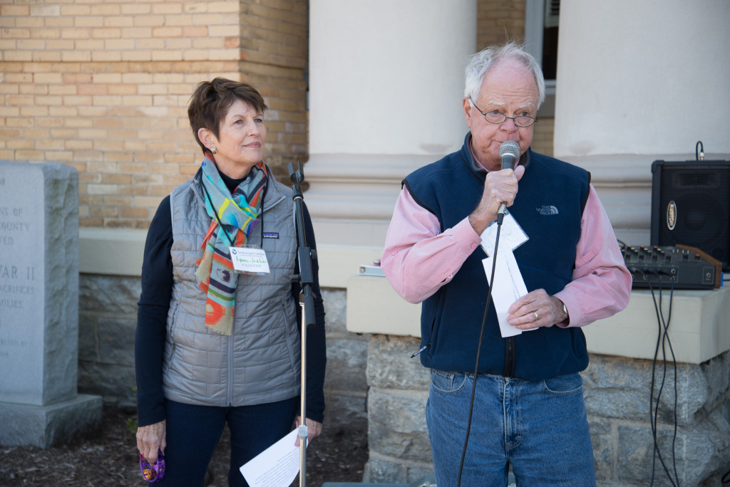 Lynne and Ralph Jenkins took the stage to announce a $5,000 challenge grant, encouraging others to match the grant in the coming weeks. Protect our Land Picnic in Hendersonville, NC on Sunday, October 18, 2015. Photo credit: katrinaohstrom.com