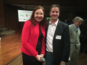 Katharine Hayhoe with Pete Krull of Krull & Company - socially and environmentally responsible investment management and financial planning - the lead sponsor of the event.