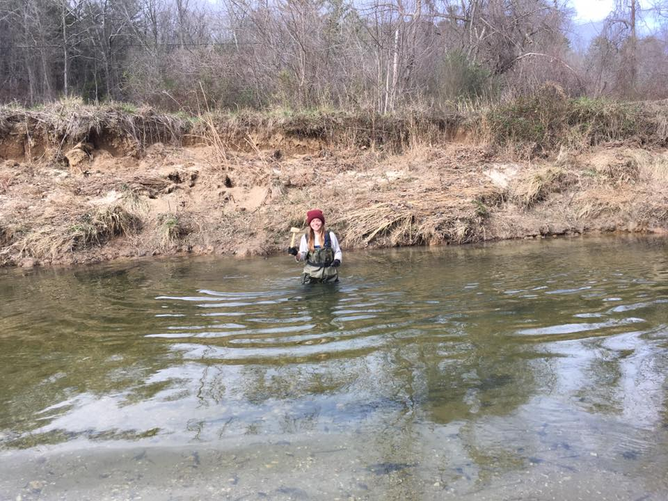 Assistant French Broad Riverkeeper, Anna Alsobrook, braves the cold!