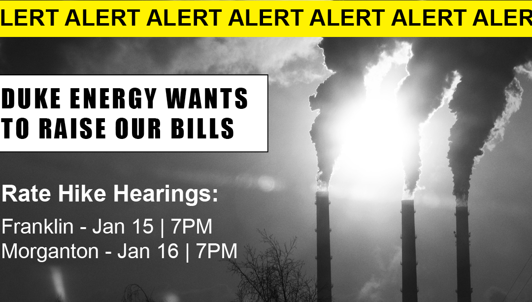 On Jan. 15, tell the NC Utilities Commission: No Rate Hikes for Dirty Energy!